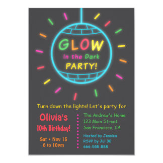Disco Ball Glow in the Dark Birthday Party Card