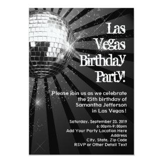 Disco Ball Las Vegas Birthday Party Invitations