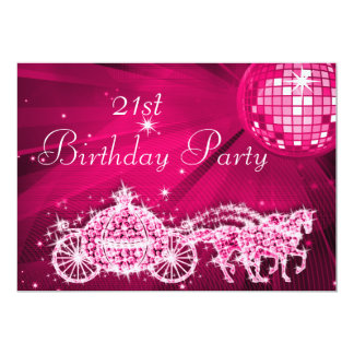 Disco Ball, Princess Coach & Horses 21st Birthday 13 Cm X 18 Cm Invitation Card