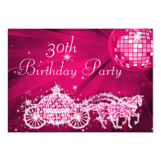 Disco Ball, Princess Coach & Horses 30th Birthday Card