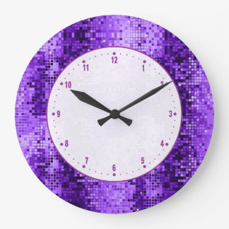 Disco Ball Purple Glitter And Sparkles Large Clock
