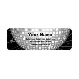 disco ball return address stickers