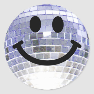 Disco Ball Smiley Round Sticker