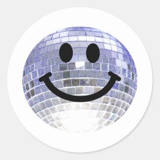 Disco Ball Smiley Round Sticker