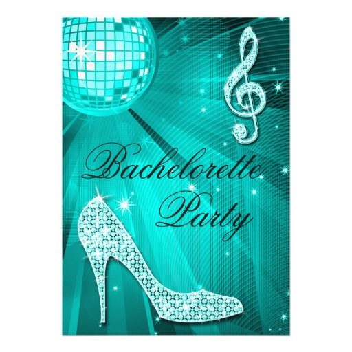 Disco Ball Sparkle Heels Teal Bachelorette Party Personalized Invitation