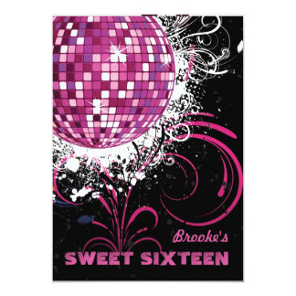 "Disco Ball - Sweet 16 invitation 5"" X 7"" Invitation Card"