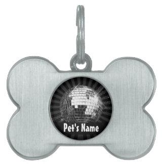 Disco Ball w/Black Background Pet Name Tag