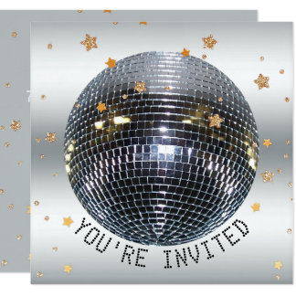 Disco Birthday Party | Just Dance Disco Ball Party Card