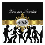 Disco Black  Birthday Party Glamour Invitation Personalized Announcements