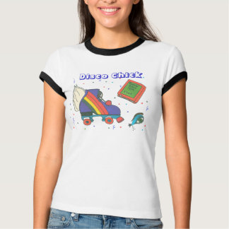Disco Chick 80's Roller Skate Icon Design T-Shirt