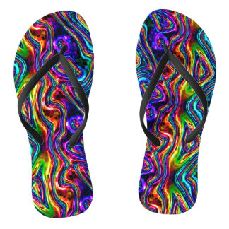 DISCO CLUB NEON LIGHTS mosaic waves Thongs