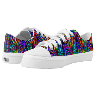 DISCO CLUB NEON LIGHTS PARTY mosaic waves Low Tops
