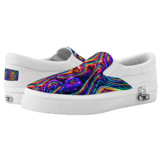 DISCO CLUB NEON LIGHTS PARTY mosaic waves Slip-On Shoes