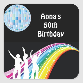 Disco Dance Birthday Party Favor Labels Square Sticker