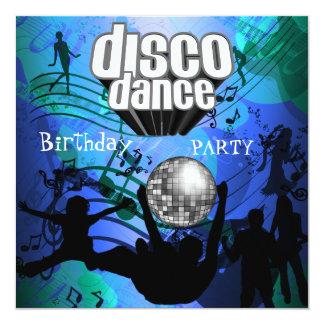 Disco Dance Birthday Party Retro Blue 13 Cm X 13 Cm Square Invitation Card