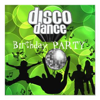 Disco Dance Birthday Party Retro Lime Bubbles 13 Cm X 13 Cm Square Invitation Card