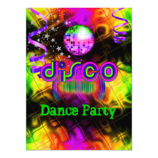 Disco Dance Party Psychedelic music 17 Cm X 22 Cm Invitation Card