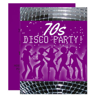 Disco Dance Party Purple | Retro 70's Theme Party Card