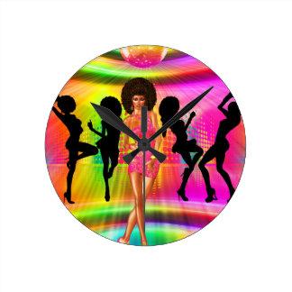 Disco dance scene with silhouettes, retro. round clock