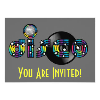 Disco Dancing Mirrored Ball and Vinyl Record Card