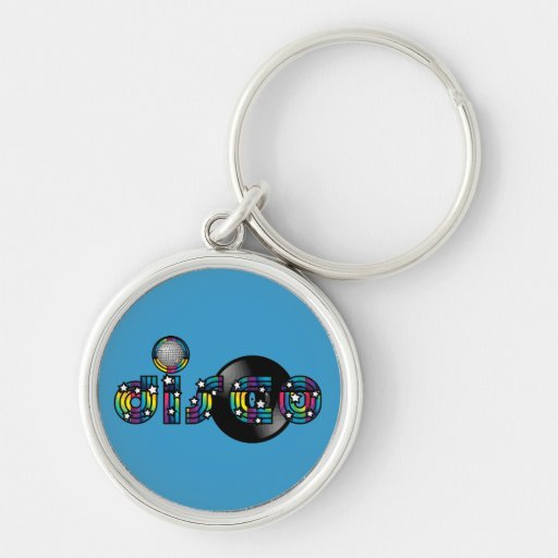 Disco Dancing Mirrored Ball and Vinyl Record Key Chain