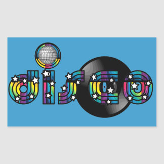 Disco Dancing Mirrored Ball and Vinyl Record Rectangular Sticker