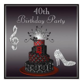 Disco Diva Cake, Silver Heels 40th Birthday 13 Cm X 13 Cm Square Invitation Card