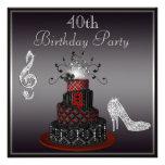 Disco Diva Cake, Silver Heels 40th Birthday Announcements