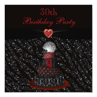 Disco Diva Cake Zebra Glitter Print 30th Birthday 13 Cm X 13 Cm Square Invitation Card