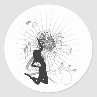 disco diva vector round sticker