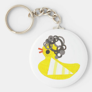 Disco Ducky Keyring Basic Round Button Key Ring
