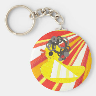Disco Ducky with Background Keyring Basic Round Button Key Ring