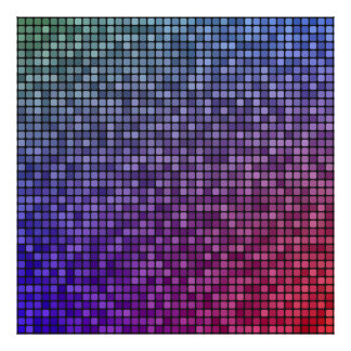 Disco fever pixel mosaic posters