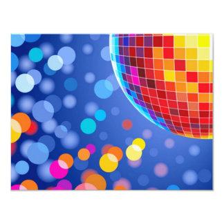 disco globe 11 cm x 14 cm invitation card