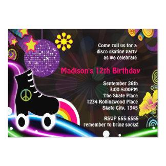 Disco Glow Roller  Skating Skate Party Invitation