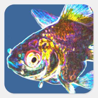 Disco Goldfish Square Sticker