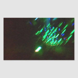 disco green burst at night rectangular sticker
