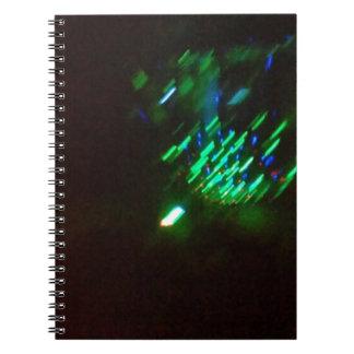disco green burst at night spiral notebook