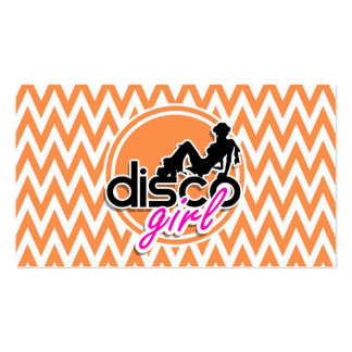Disco; Orange and White Chevron Pack Of Standard Business Cards