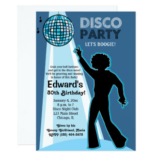 Disco Party Birthday Invitations