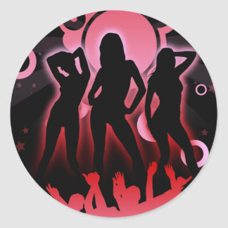 DISCO PARTY CLASSIC ROUND STICKER