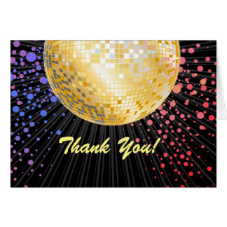 disco party, glitter, dance, party thank you card