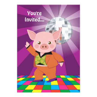 Disco Pig Personalized Announcement