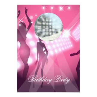 "Disco Retro Birthday Party Invitation 5"" X 7"" Invitation Card"