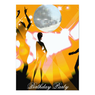 "Disco Retro Birthday Party Invitation 5.5"" X 7.5"" Invitation Card"