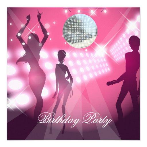 Disco Retro Pink Birthday Party Invitation Announcements