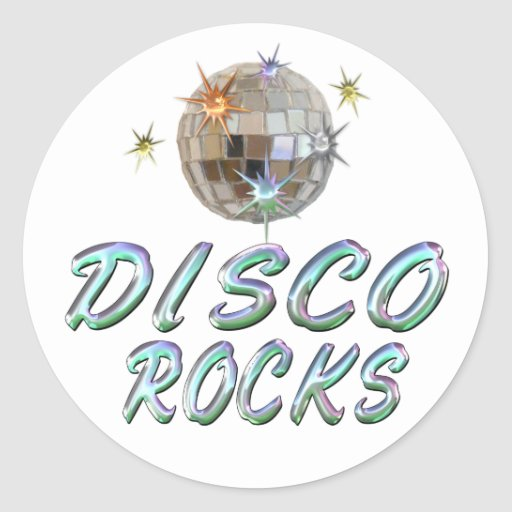DISCO ROCKS ROUND STICKER