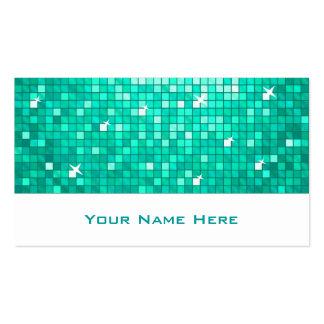 Disco Tiles Aqua business card black