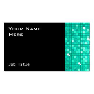 Disco Tiles Aqua business card side black