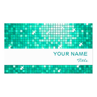 Disco Tiles Aqua  business card white stripe